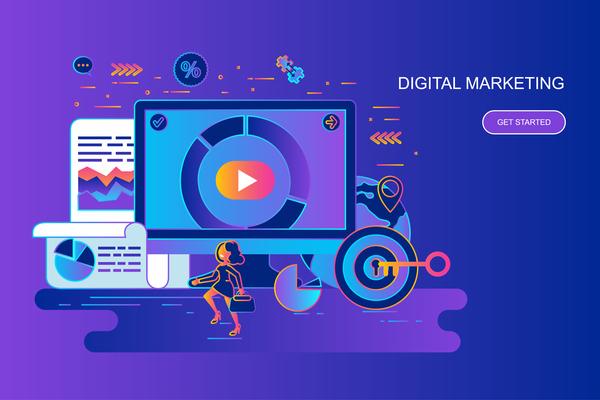 Digital marketing flat design concept free vector