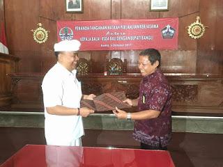 Penandatanganan Naskah Perjanjian Kerjasama antara Kepala Balai KSDA Bali dengan Bupati Bangli