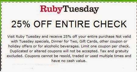 Any day is a good day to save on fun and fresh dining with Ruby Tuesday online coupons. Whether it's dinner and drinks for two or a leisurely weekend lunch with the kids, Ruby Tuesday has sure-to-please menu items for everyone.
