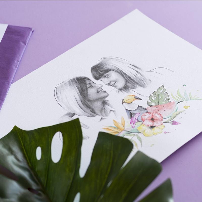 Retratos dibujados a lápiz y acuarela para regalar