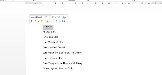 Mulai membuat Daftar Isi Otomatis di Word