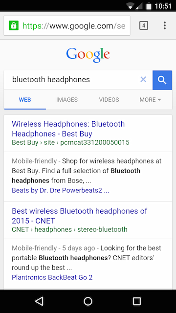 Mobile Google Search Tests Oversized Header