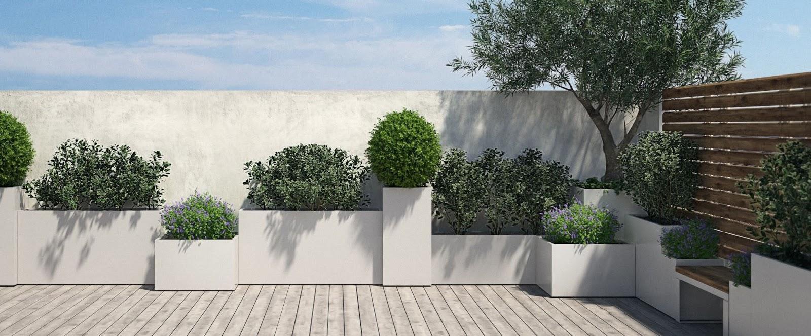 Progettare spazi verdi: Arredamento terrazzo: fioriere in acciaio ...