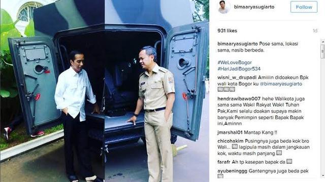Bima Arya Posting Foto Dengan Jokowi `Cuma Beda Nasib` yang Bikin Heboh Pengguna Sosmed