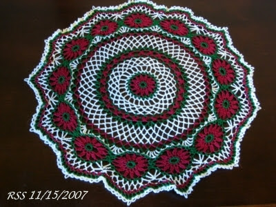 Red and Green Winter Flower Doily - Thread Crochet Art by RSS Designs In Fiber - Sold - Email For Custom Order Request