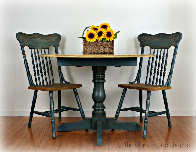 French country table and chair set in Aubusson blue and Arles.