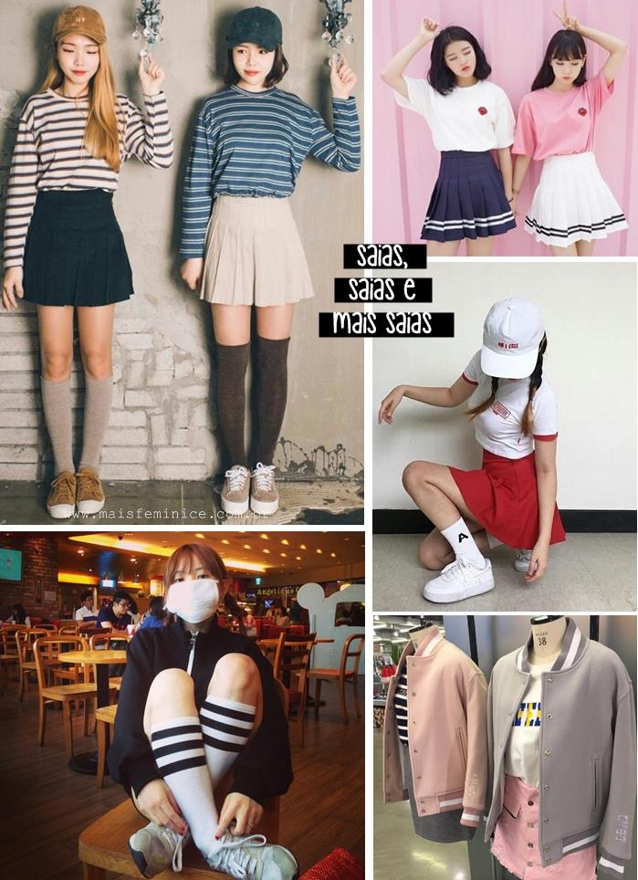 Moda Coreana: saias, meias, moletons