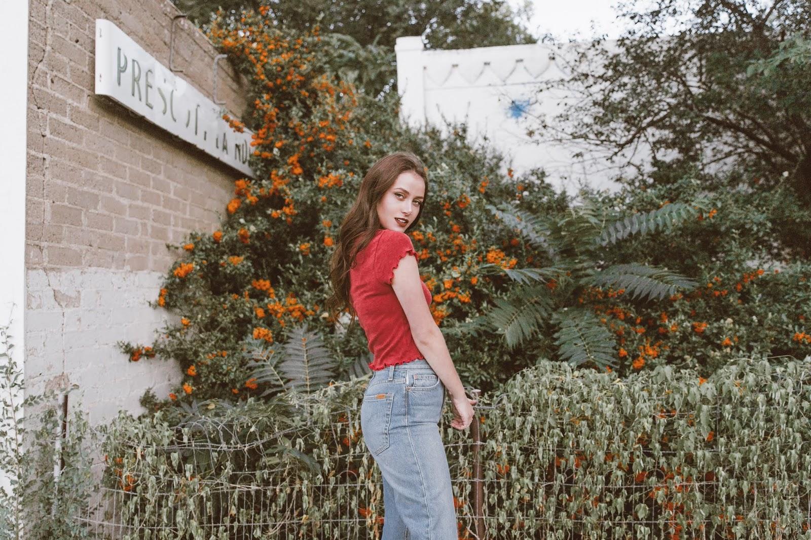 Arizona Girl fashion blog, Joe's Jeans, Stylinity, platform sandals, denim jacket, fall style 2018, Canadian tuxedo, Shelly Stuckman