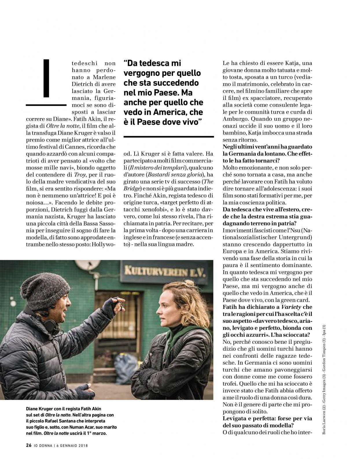 Diane Kruger In Io Donna Del Corriere Della Sera January 2018 issue