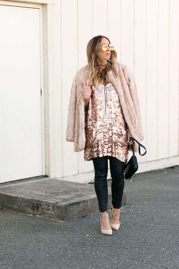 rose gold sequin dress new years eve outfit