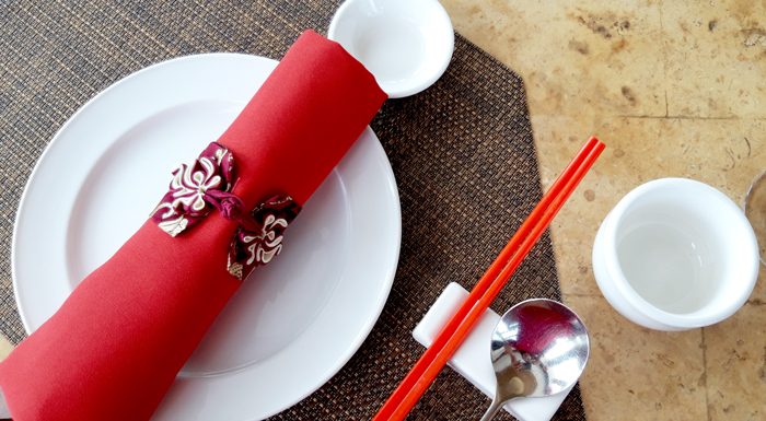Lotus Court's dainty Chinese button knot table napkin ring