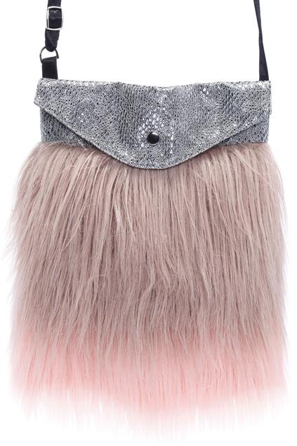 Romwe Dual-color Fur Silver Bag