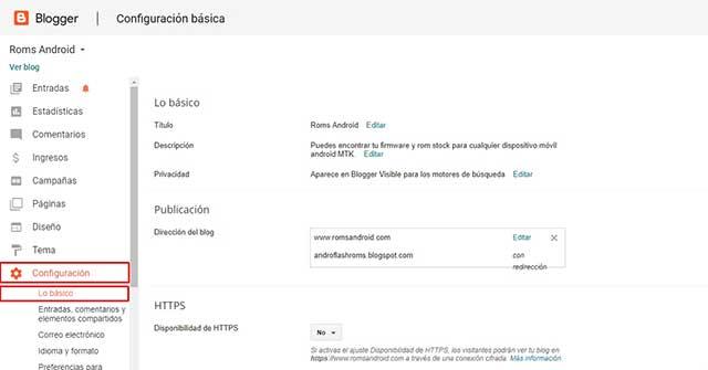 Configuración lo básico blogger