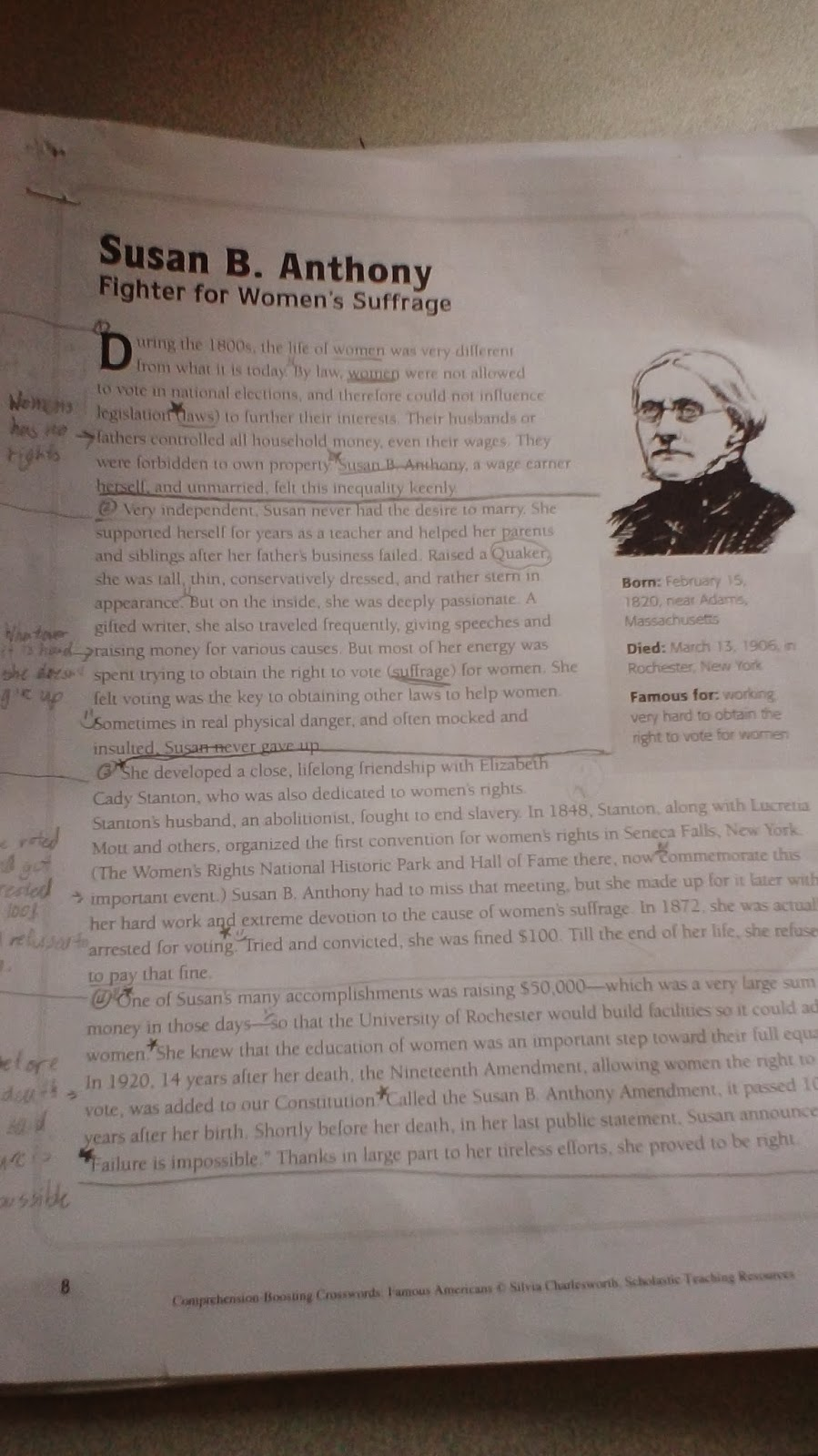 Workbooks susan b anthony worksheets : Fearless 5th Grade