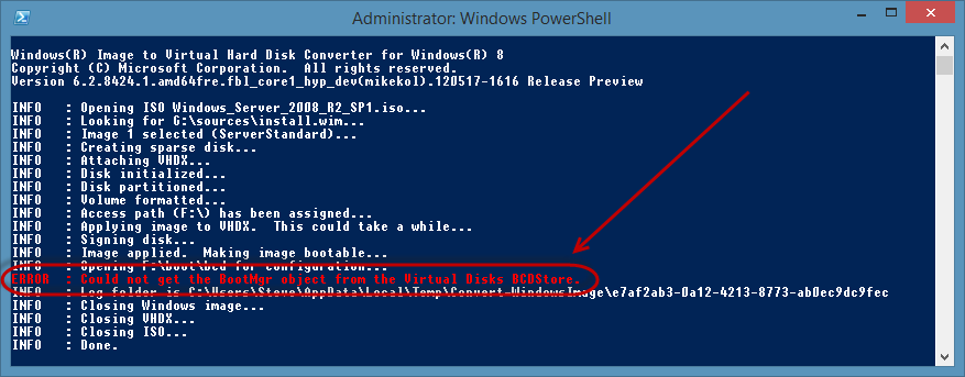 Microsoft System Center Suite: Converting a WIM file to VHD on a