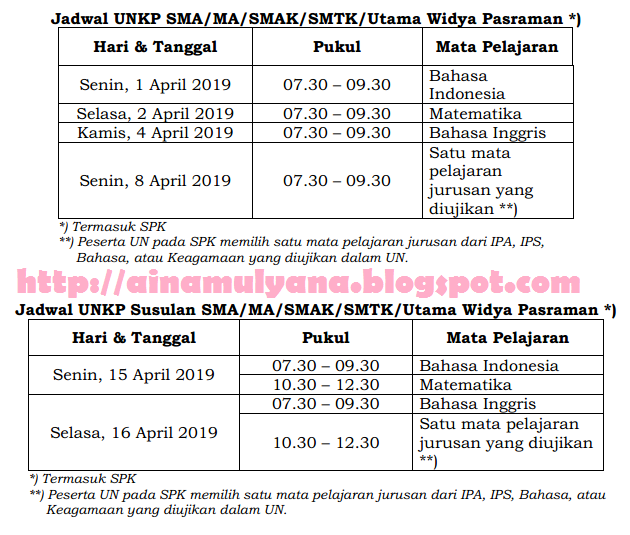 Jadwal UN – UNKP SMA Tahun 2019 atau Tahun Pelajaran 2018/2019