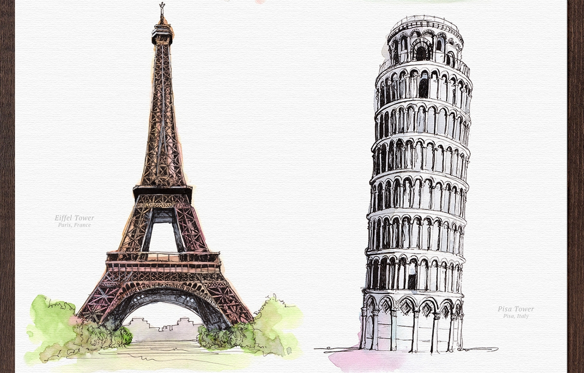 01-Eiffel-Tower-Leaning-Tower-of-Pisa-Mucahit-Gayiran-Architectural-Landmarks-Watercolor-Paintings-www-designstack-co