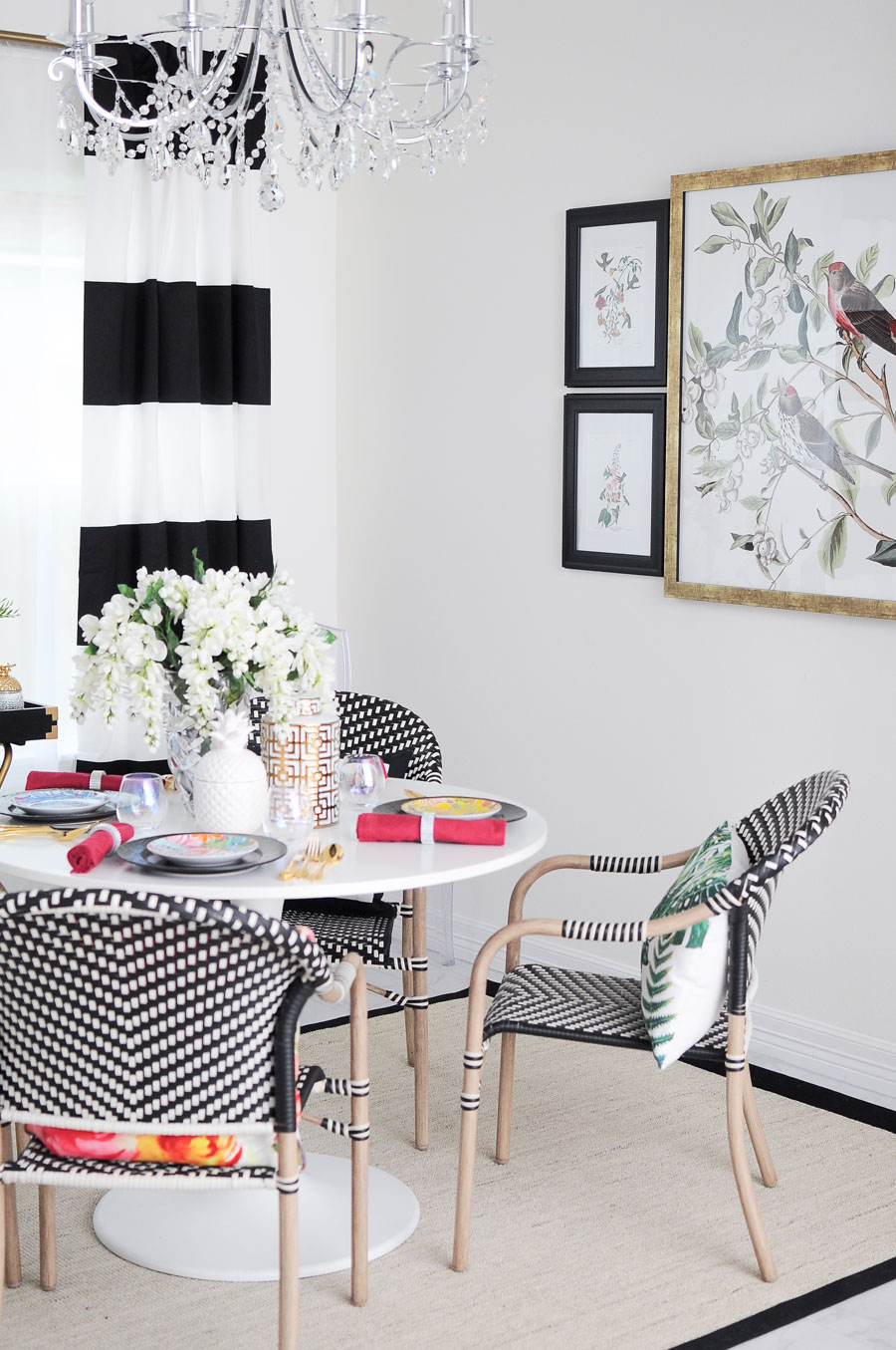 A small dining space gets an upgrade with $44 Parisian bistro chairs that are chic and casual. Small space living can feel grand.