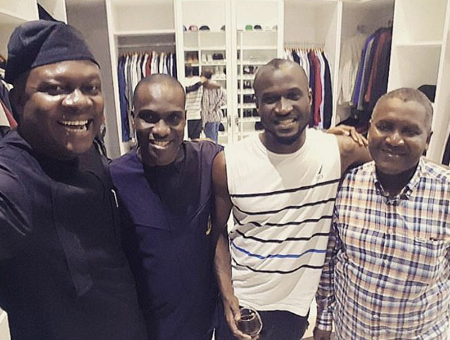 Photos: Dangote pays surprise visit to P-square brothers Peter and Paul