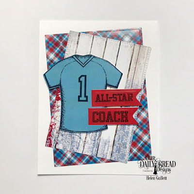 Our Daily Bread Designs Stamp Set: All-Star Jersey, Custom Dies: Sports Jerseys, Rectangles, Pierced Rectangles, Pennant Flags, Paper Collections: Old Glory, Patriotic