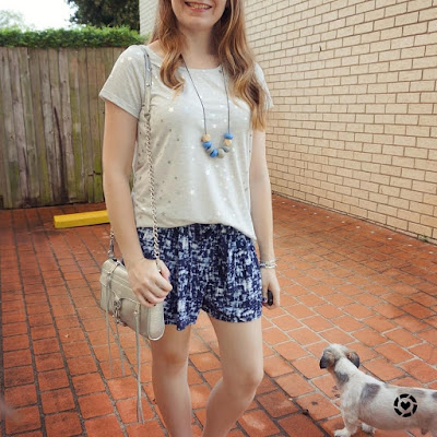 awayfromblue instagram Jeanswest Kaylin star foil grey tee blue soft relaxed fit shorts playgroup outfit