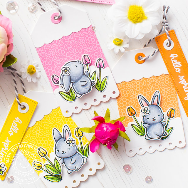 Sunny Studio Stamps: Chubby Bunny Sliding Window Dies Fancy Frames Spring Greetings Build-A-Tag Hello Spring Card by Mona Toth