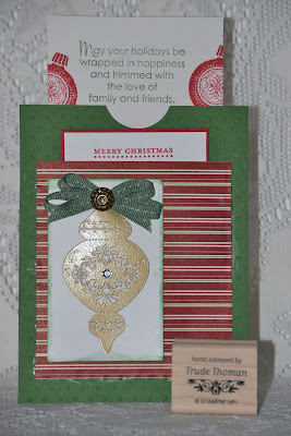 http://stampwithtrude.blogspot.com Stampin' Up! Christmas card by Trude Thoman Keepsake Ornaments stamp set