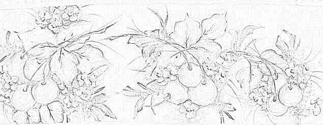 Pintura em tecido barrado de frutas