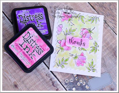 Flower challenge, background stamping