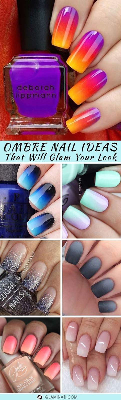 GLAM IDEAS FOR OMBRE NAILS PLUS TUTORIAL