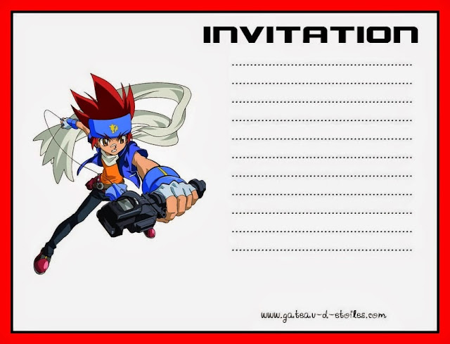 Beyblade Free Printable Invitation or Cards.