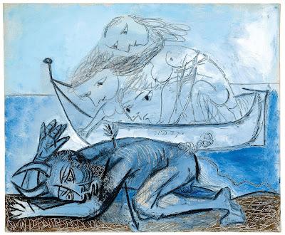 Pablo Picasso - Barque de naiades et faune blessé,31 decembre 1937.