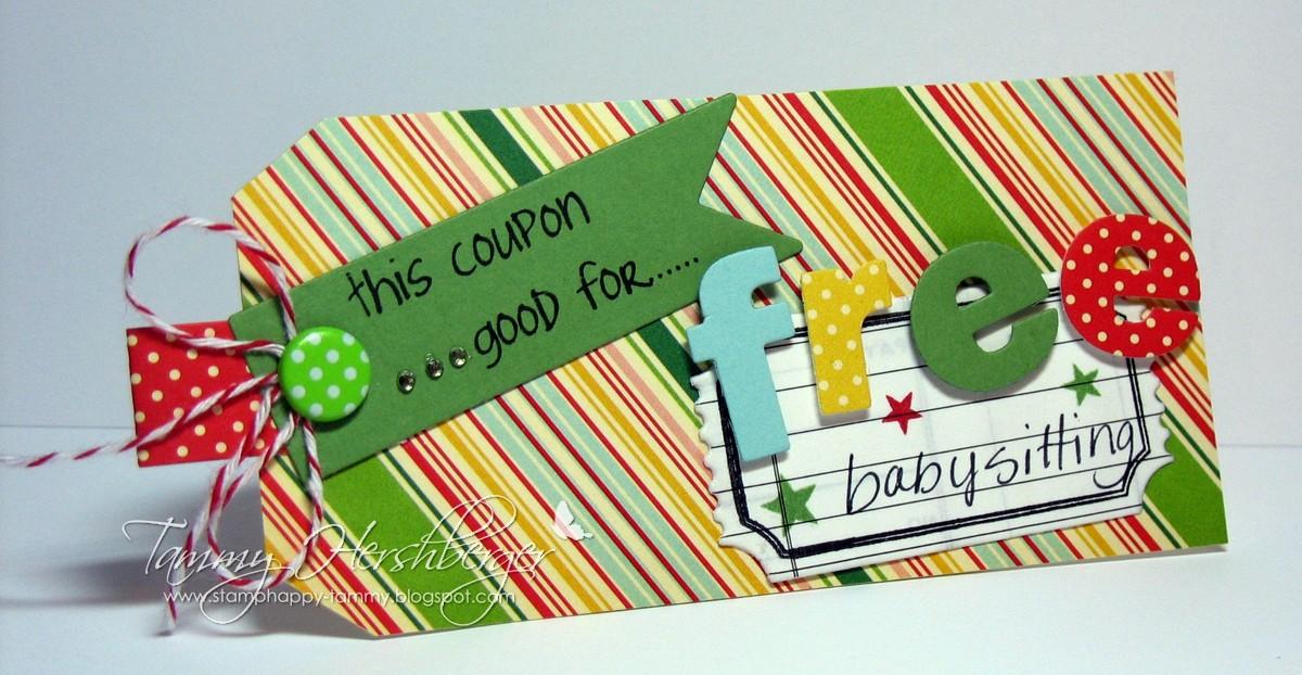 Babysitting coupon gift  Memory lanes coupons