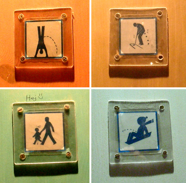 20+ Of The Most Creative Bathroom Signs Ever - Public Unisex Restroom Signs At Tom Tits Science Park, Sodertalje, Sweden