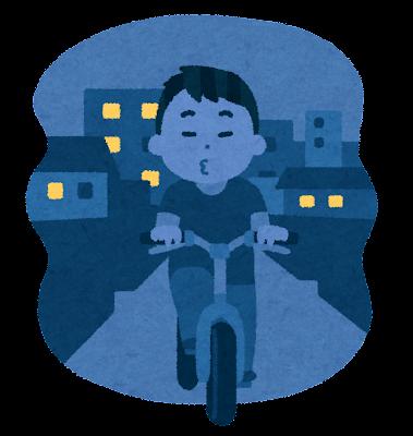 自転車の無灯火のイラスト