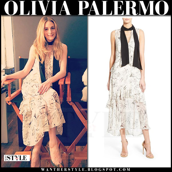 Olivia Palermo in white floral print sleeveless dress chelsea28 collection what she wore