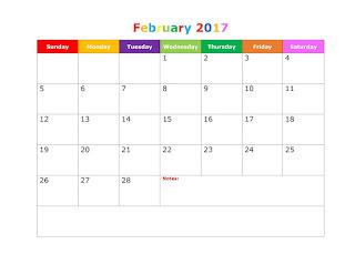Free printable february calendar 2017, Blank template Calendar 2017, February Blank template Calendar 2017