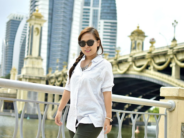 Outfit Diary : Olive green pant + striped t-shirt