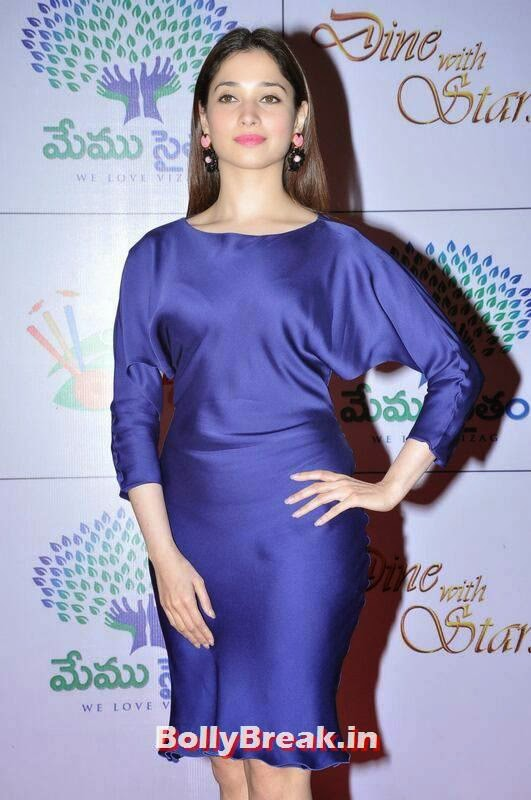 Tamanna Photos, Tamanna Bhatia Hot Pics in Blue Dress