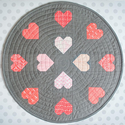 Encircled Love Mini Quilt Free Pattern designed and made by Laura of Kittens and Threads