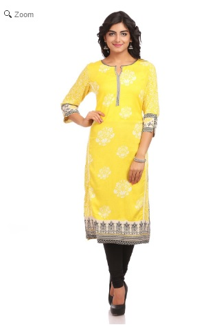 Lime Straight Cotton Kurtha, Rangriti, Online Shopping portal for women, ethinic wear for women, Indian Wear