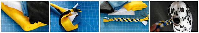 Making a blue, yellow, white, and black fleece spiral dog tug toy