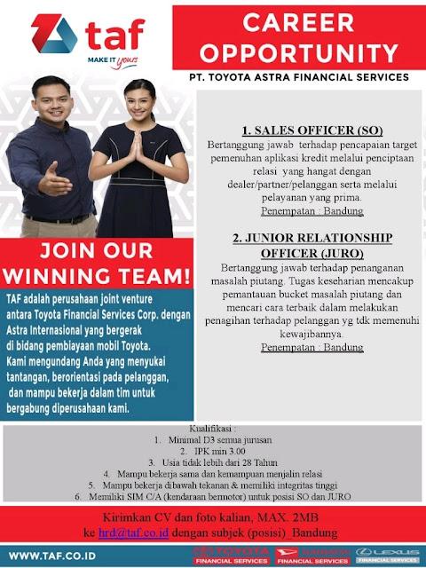 Lowongan Kerja PT. Toyota Astra Financial Services Maret 2017