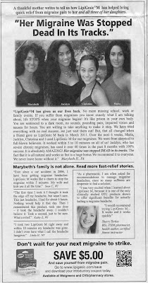 Newspaper ad with picture of four pretty women and headline Her migraine was stopped dead in its tracks