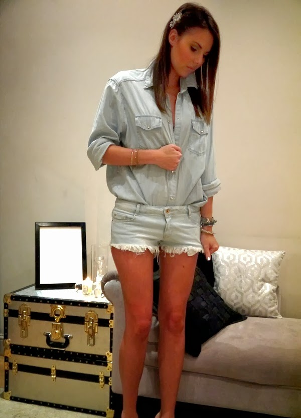 Denim shirt and shorts with Hermes and crystal arm candy bracelets