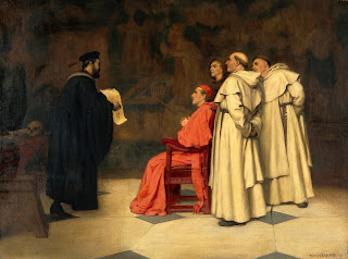 A painting shows Falloppio (left) explaining one of his  discoveries to the Cardinal Duke of Ferrara and other clergy