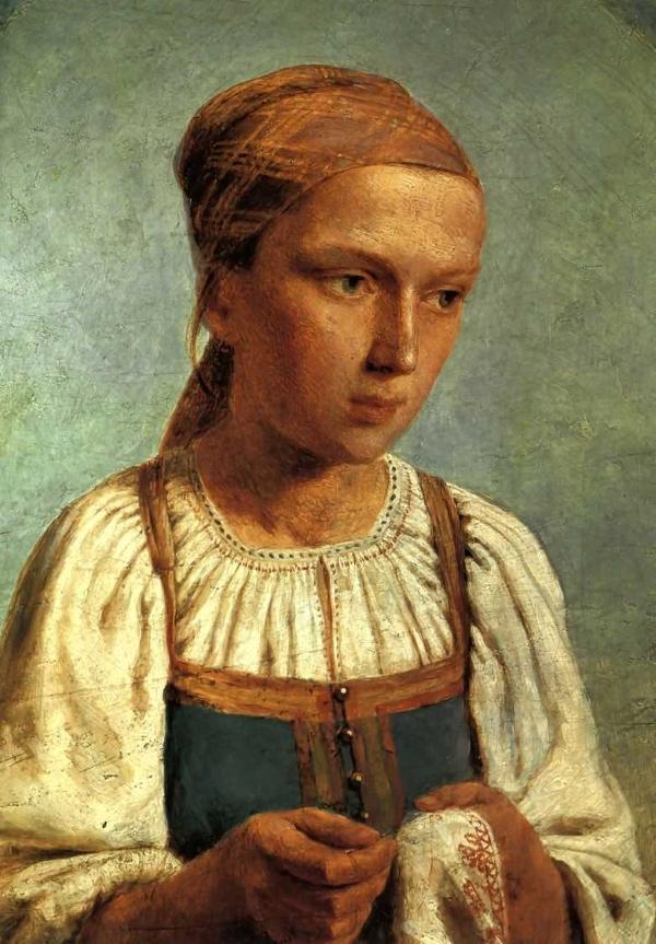 Венецианов Алексей Гаврилович Крестьянская девушка за вышиванием