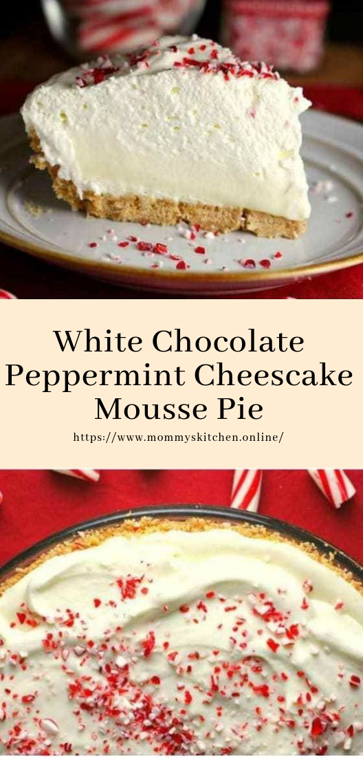 White Chocolate Peppermint Cheescake Mousse Pie #white #cakedesserts