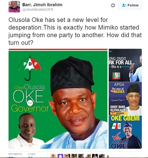 Jimoh Ibrahim Blasts Olusola Oke On Twitter Ahead Of Ondo Governorship Election
