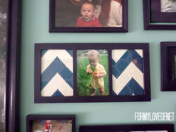 Check out this cute Teal and Purple Family Photo Gallery Wall Photo Collage Frame Idea- Designed By The Boho Abode